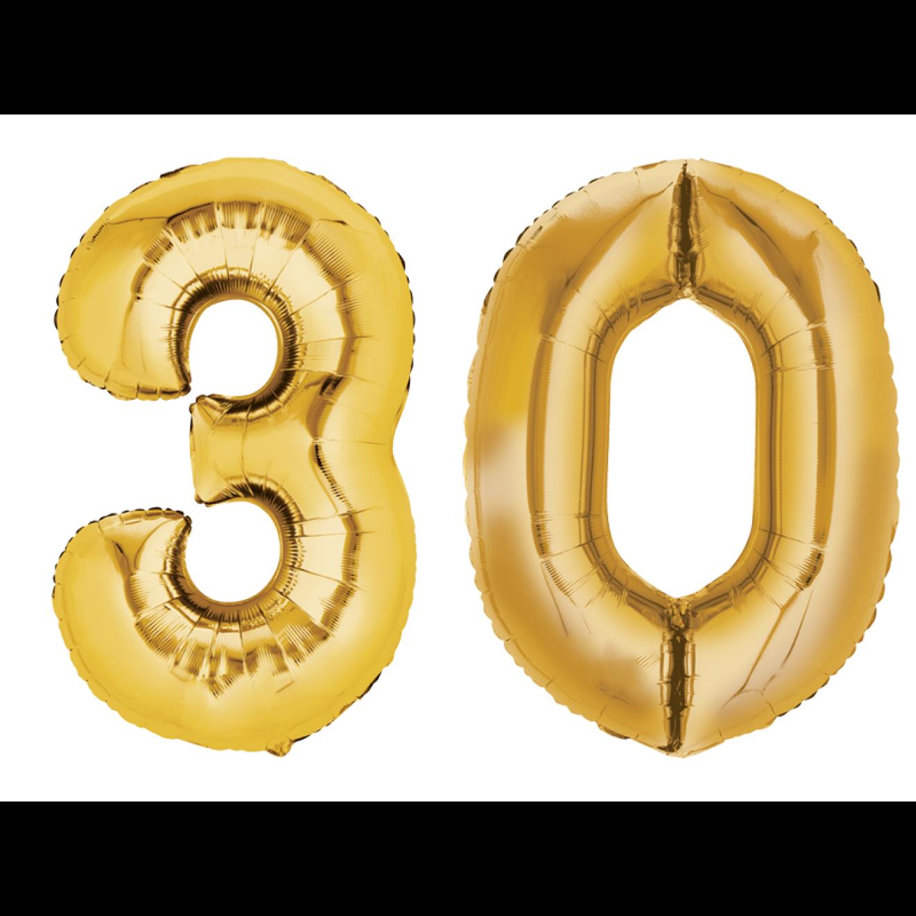 Folienballon set zahl 30 gold 40 cm for Geburtstagsdeko 30