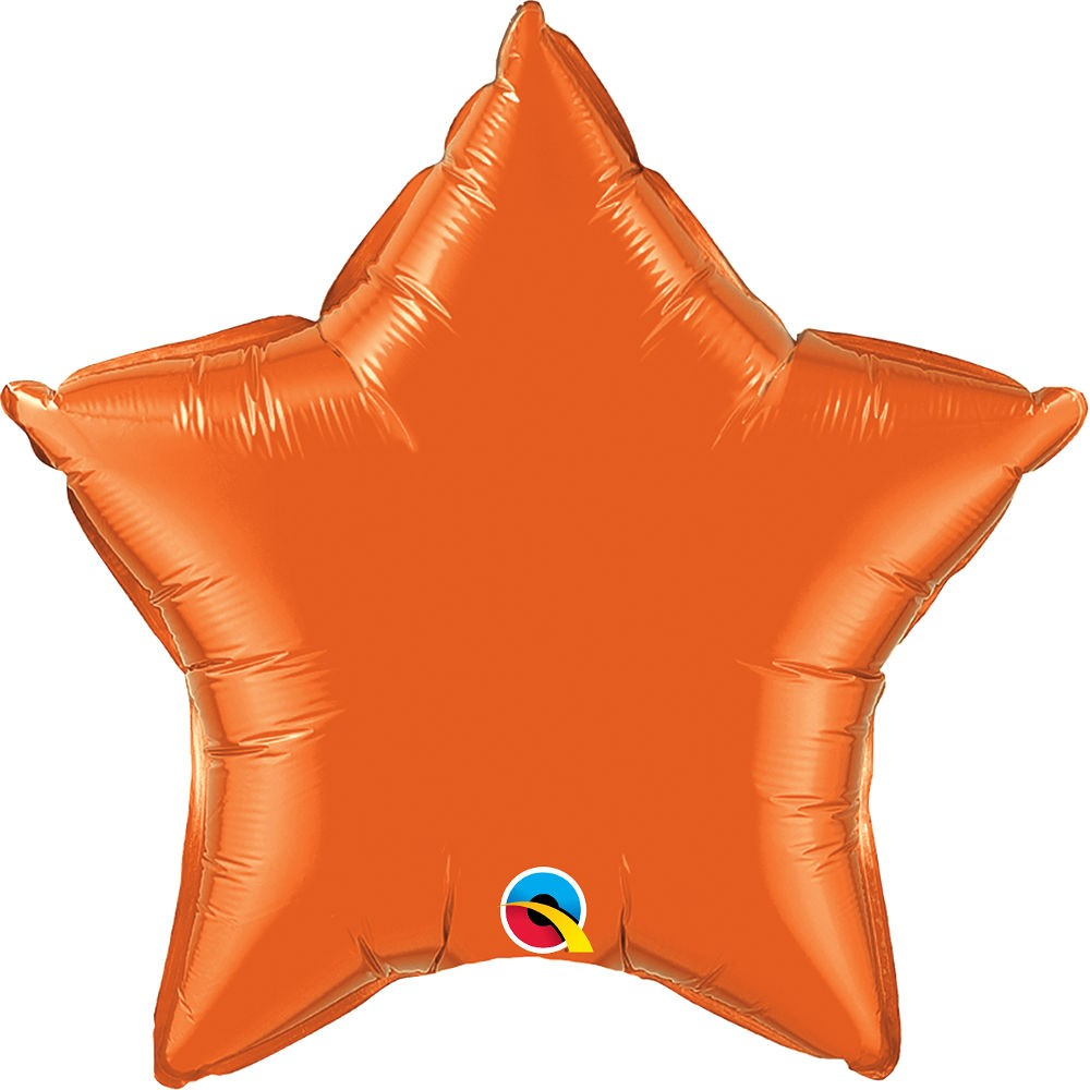 Folienballon Stern - Orange Ø 50 cm - Qualatex -