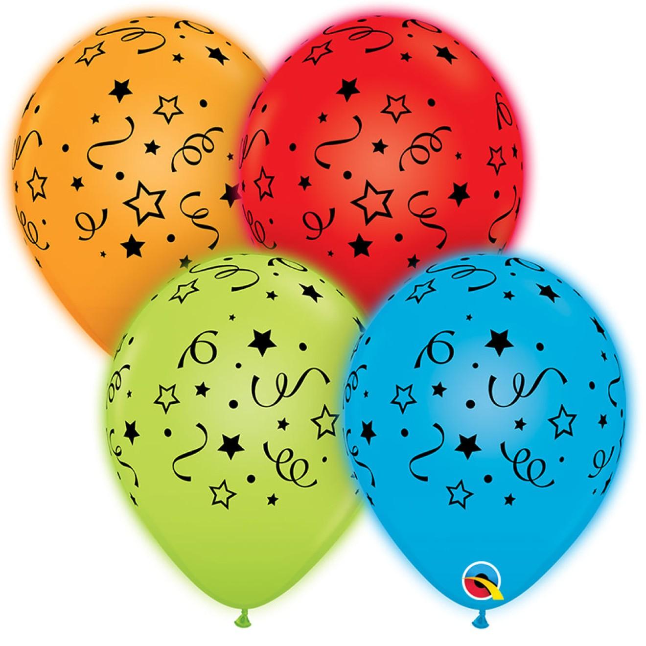 led luftballons sterne konfetti leuchtende ballons 28 cm 4 st ck qualatex. Black Bedroom Furniture Sets. Home Design Ideas