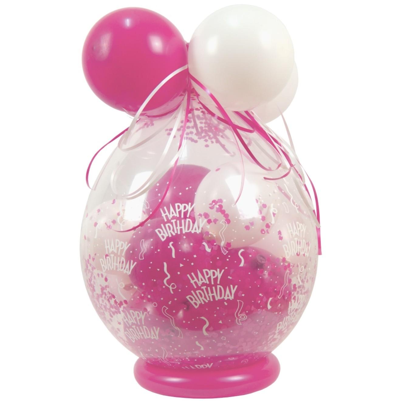 Verpackungsballon Geschenkballon Geburtstag Happy Birthday Rosa