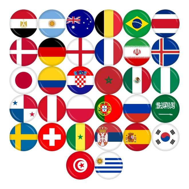 Button Flagge Wm 2018 Teilnehmer O 50 Mm