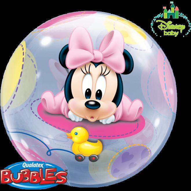 bubble ballon minnie mouse baby 56 cm qualatex. Black Bedroom Furniture Sets. Home Design Ideas