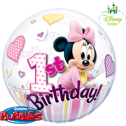 ballonpost zahl 1 minnie mouse 1 st birthday bubble. Black Bedroom Furniture Sets. Home Design Ideas