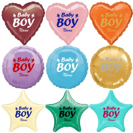 Folienballon - Baby Boy (Junge) + Name - Freie Form + Farbwahl
