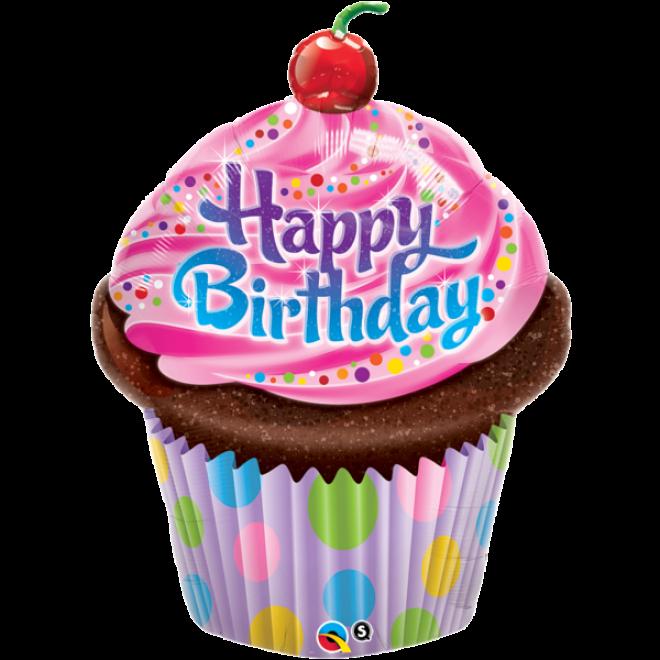 Folienballon Happy Birthday Kuchen Muffin 89 Cm Qualatex