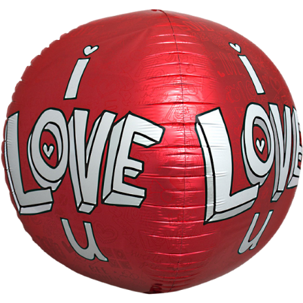 Folienballon I Love U - Rot Ø 43 cm - Kugel