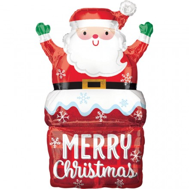 Foil Balloon Santa Claus In Chimney 76 Cm