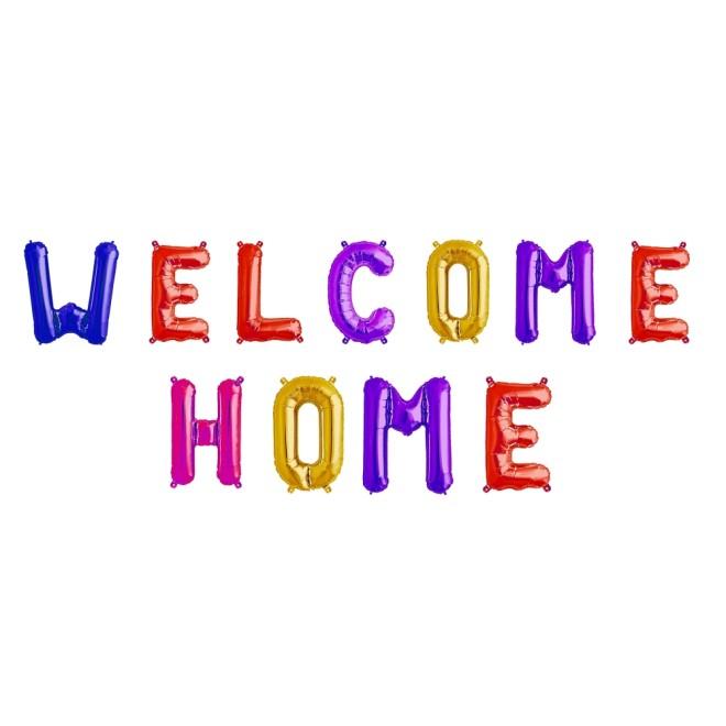 Girlande Folienballons Welcome Home - Bunt gemischt