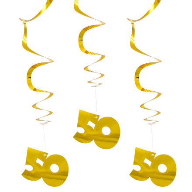 Deko Spirale Zahl 50 Gold Metallic Glanzend