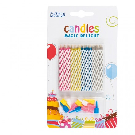 Cake Candles With Holder Multicolored Magic 24 Pieces