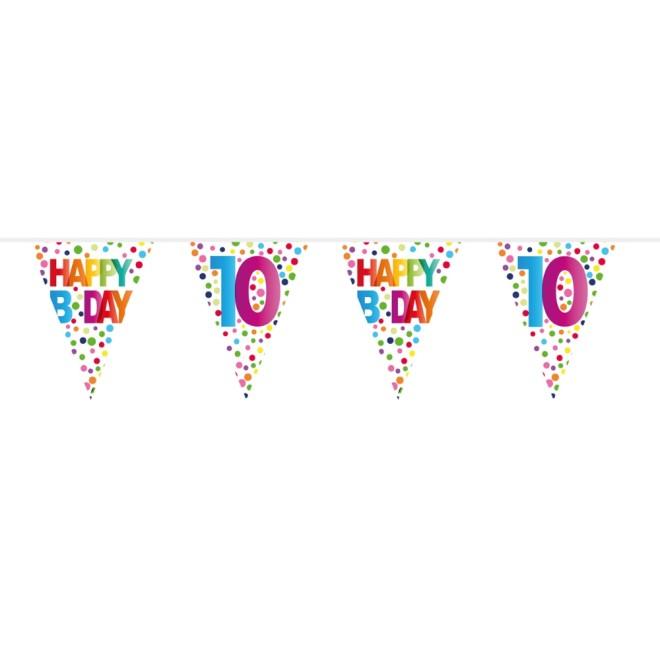 Dekofächer Geburtstag Happy Birthday Bunt Gepunktet Ø 45 cm