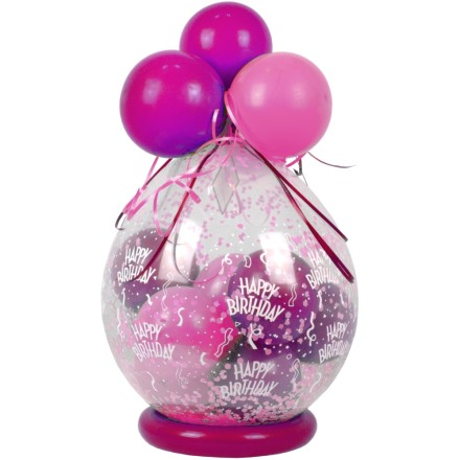 Verpackungsballon Geburtstag Happy Birthday Pink Rose Basic