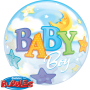 Bubble Ballon Baby Boy (Junge) - Mond & Sterne Ø 56 cm - Qualatex -