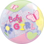 Bubble Ballon Baby Girl (Mädchen) - Schmetterlinge Ø 56 cm - Qualatex -