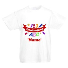 "Kinder T-Shirt - ""Schulanfang ABC 123"" + Name - Freie Farbwahl"