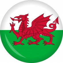 Button Wales Flagge Ø 50 mm