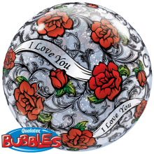 Bubble Ballon I Love You - Rote Rosen Ø 56 cm - Qualatex -