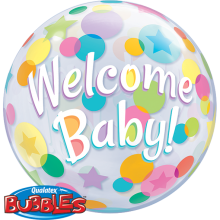 Bubble Ballon Geburt: Welcome Baby Ø 56 cm - Qualatex -