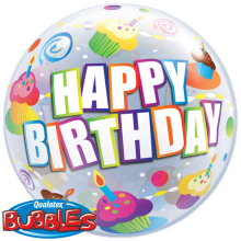Bubble Ballon Happy Birthday - Muffins Ø 56 cm - Qualatex -
