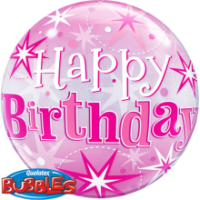 Bubble Ballon Happy Birthday - Pink Ø 56 cm - Qualatex -