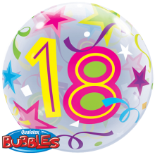 Bubble Ballon Zahl - 18 Ø 56 cm - Qualatex -