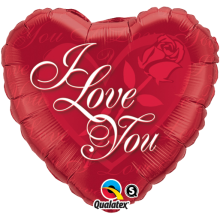 Folienballon I Love You - Rose Ø 45 cm - Qualatex -