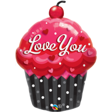 Folienballon Muffin - Love You 89 cm - Qualatex -