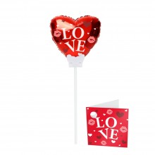 Foil Balloon Heart - Love - Red 15 cm with Rod + Card