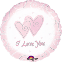 Folienballon I Love You (Rosa) - Holographic Ø 45 cm