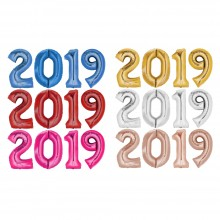 Foil Balloon Set New Year XXL: 2019 - Free Choice of Color 80-86 cm