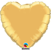 Folienballon Herz - Gold Ø 45 cm - Qualatex -