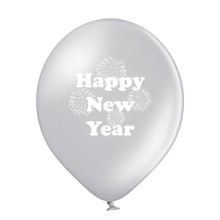 Luftballons Silvester: Happy New Year - Silber - Metallic Ø 30 cm