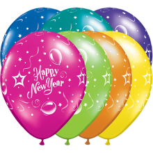Luftballons Silvester: Happy New Year - Bunt gemischt Ø 28 cm - Qualatex - 5 Stück