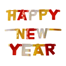 Buchstaben-Girlande Silvester: Happy New Year (Gold, Silber, Rot) - Holographic 1,6 m