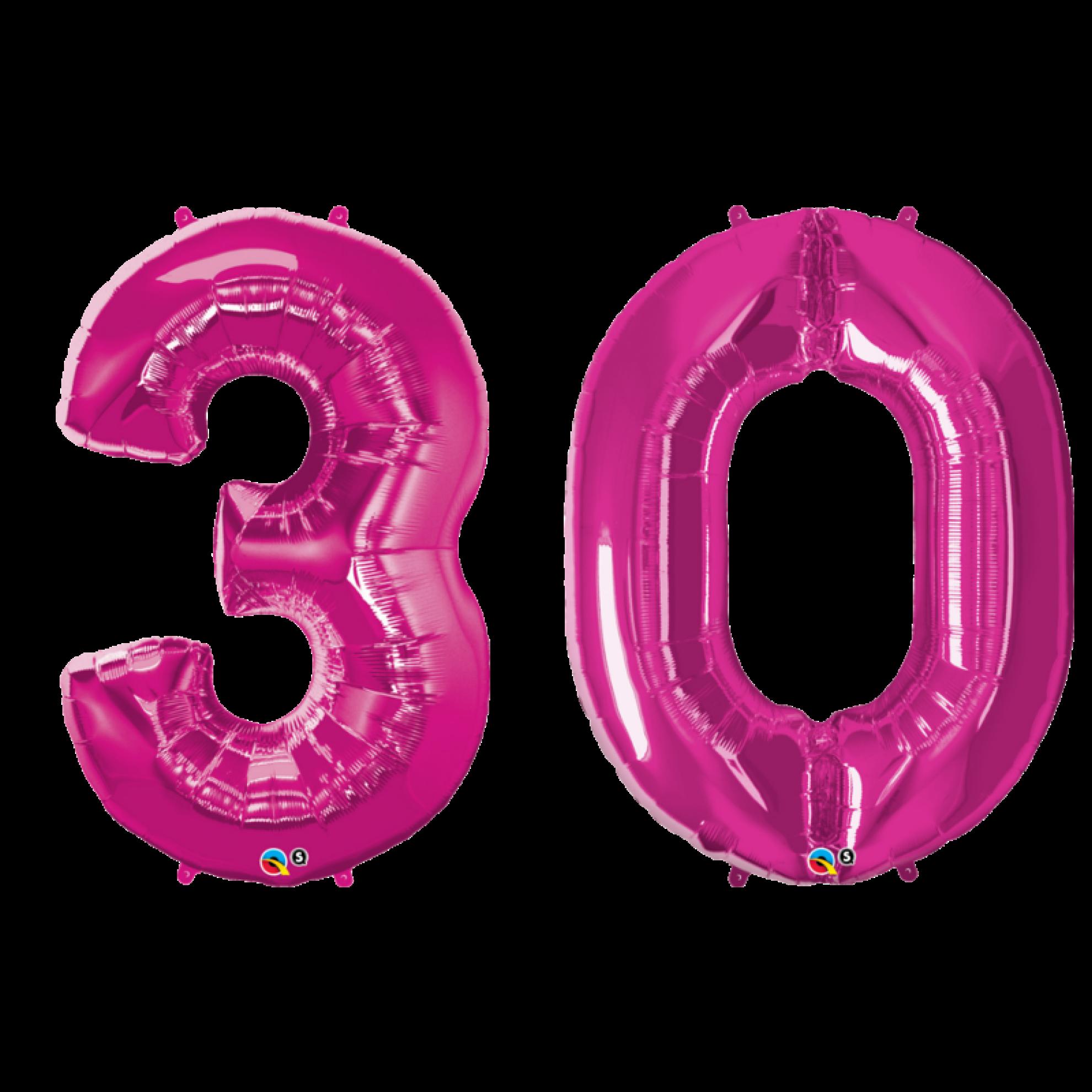 Folienballon set zahl 30 pink 86 cm for Geburtstagsdeko 30