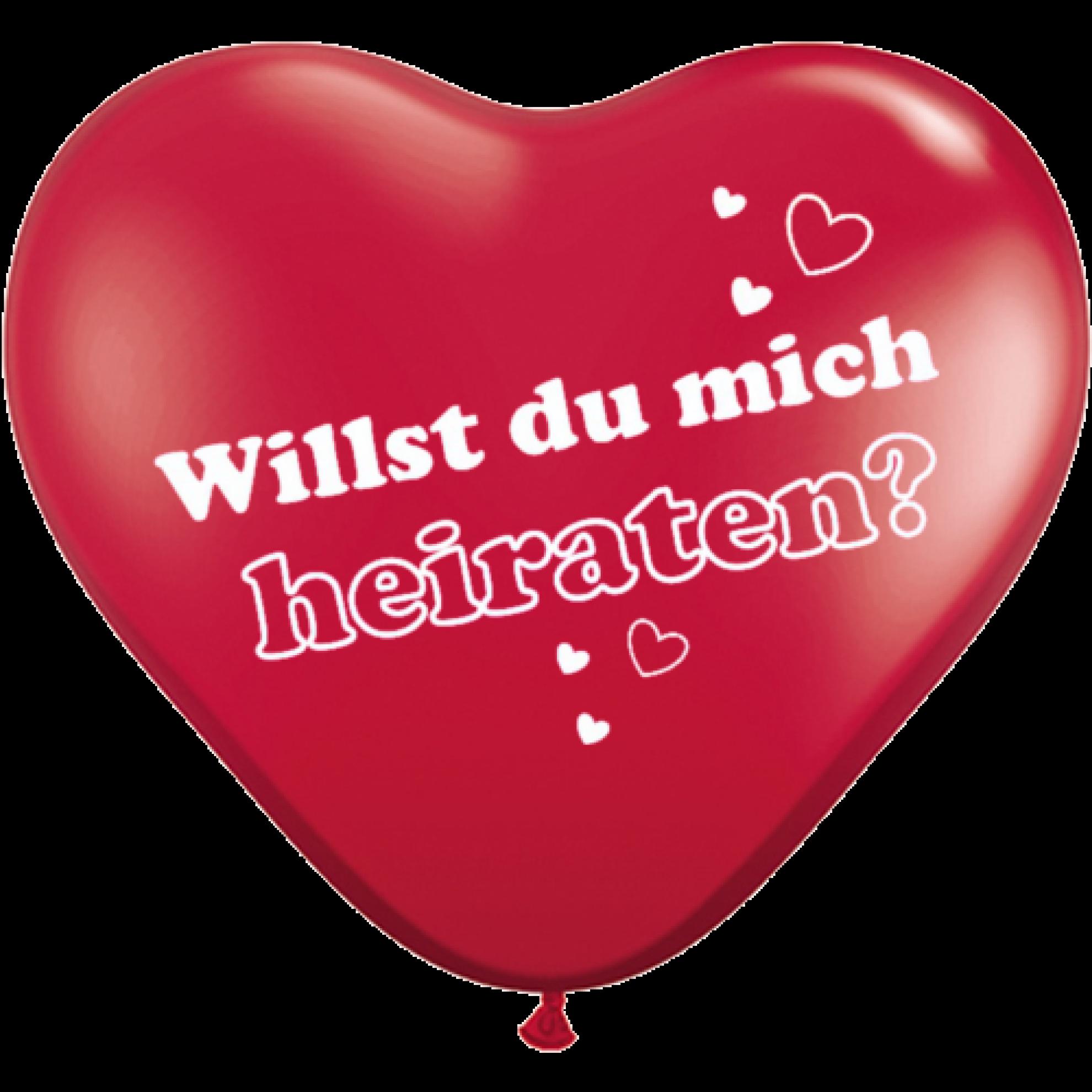 Herzballons Willst du mich heiraten? - Rot Ø 25 cm