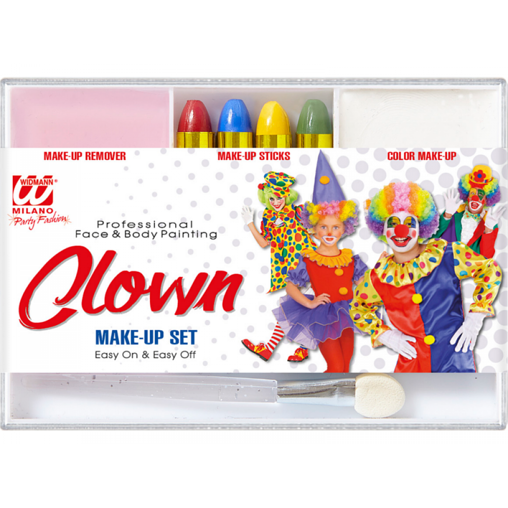 Schmink Set Clown mit Pinsel & Make Up Entferner